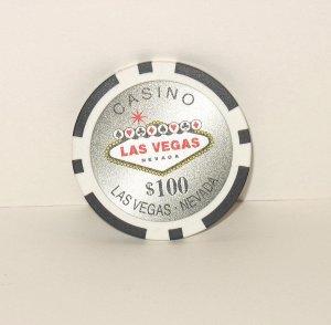 CASINO $100 BLACK POKER CHIP FRIDGE MAGNET STRONG! LAS VEGAS
