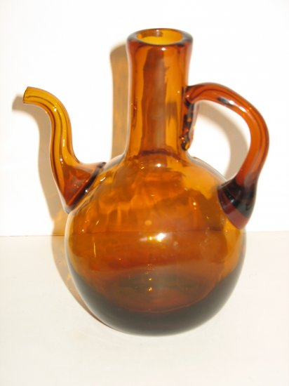 OLD BROWN GLASS MINI PITCHER OLIVE OIL VINEGAR DRIZZLE