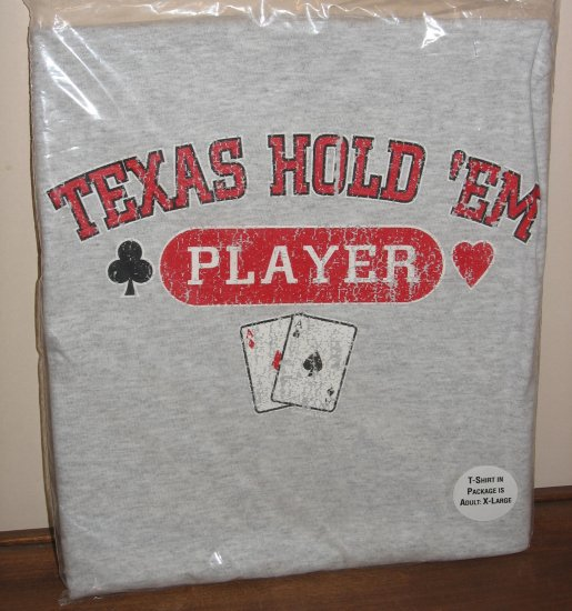 Texas Hold 'em Player Poker T-Shirt Vintage Retro Look Aces Men's XL New!
