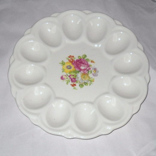 Deviled EGG Plate Tray Serving Platter E&R American Artware Porcelain Floral Vintage