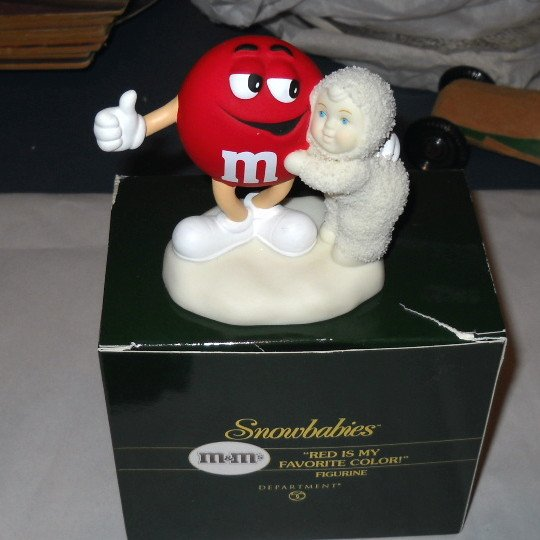 Dept 56 Snowbabies with M&M's Red is My Favorite Color Figurine