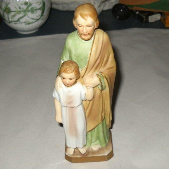 St Jude Saint with Child Bisque Figure Statue Sanmyro Japan Religious