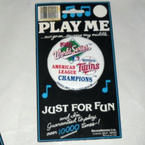 MN TWINS AL Baseball 1987 World Series Pinback Pin
