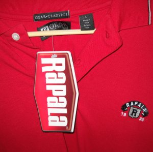 25% off NWT Mens L RAPALA Red Polo Fishing Lure Gear Shirt NEW