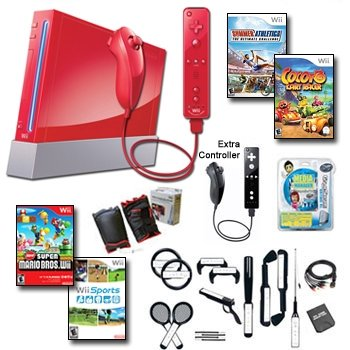 """Nintendo Wii Red """"Holiday Fun"""" Bundle - Extra Remote and Nunchuk, 19 Games, and Lots of Accessories"""
