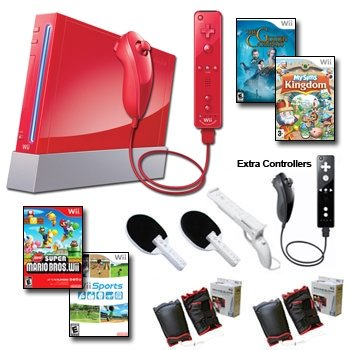 Nintendo Wii Red Holiday Friends Bundle with Remote Plus....