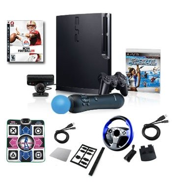 """Sony Playstation 3 320GB Move """"Super Bundle""""- Wheel, Dance Pad, Cables, and More"""
