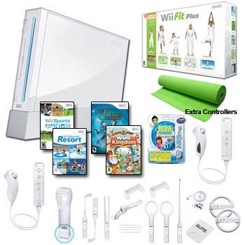 Nintendo Wii White Holiday Fit Mega Bundle with....