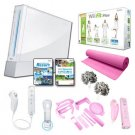 "Nintendo Wii White ""Holiday Pink Fit Bundle"" with Yoga Mat, Pom Poms, and More."