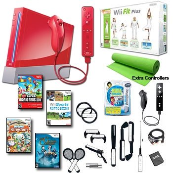 Nintendo Wii Red Holiday Fit Mega Bundle with .....