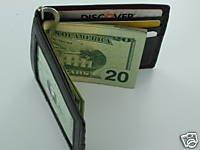 Man's Men Fine Leather Wallet Card ID Holder Money Clip
