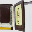 Man's Mens Leather Wallet Money Clip Credit Card Holder Brown