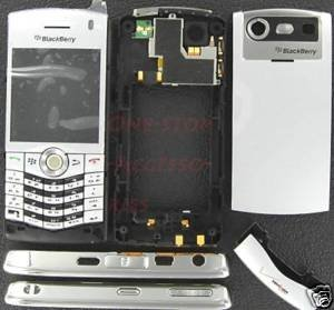 Silver Verizon OEM Rim BlackBerry 8130 Pearl Full Housing Case