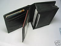 Man's Men's Leather Wallet  With ID Credit Card Holder Black