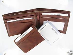 Men's Cow Hide Fine Genuine Leather Bifold Wallet Brown