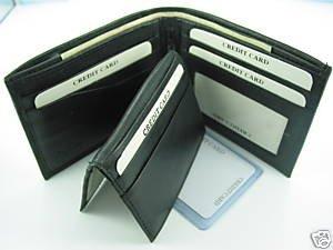 Men's Cow Hide Fine Genuine Leather Bifold Wallet Black 60/56