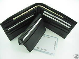 Bi-fold Cow Hide Fine Genuine Leather Men's Wallet Black