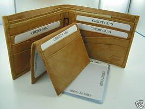 Bi-fold Cow Hide Fine Genuine Leather Men's Wallet Case Tan