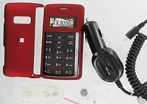 Verizon OEM Car DC Charger+Red Snap-On Case LG enV2 VX9100