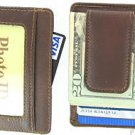 Men's Leather Wallet Money Clip Credit Card ID Holder Brown