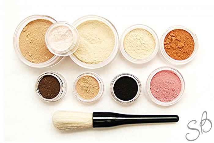 13pc Mineral makeup kit foundation eyeshadow brush set-Fairly light-Light-Medium-Tan-Dark-Deep Veil
