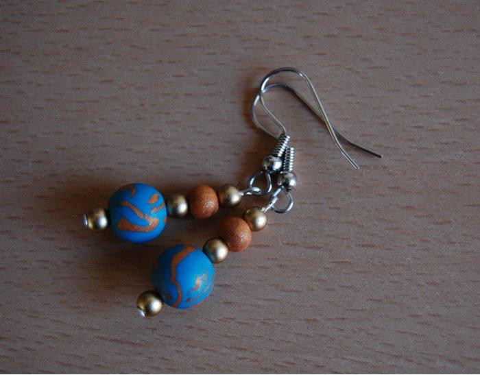 Blue & Gold Earring