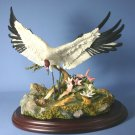 Lenox LILY POND LANDING Hand Painted Crane bird Sculpture & Stand