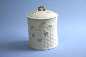 Belleek SHAMROCK Marmalade Jar, 3rd Green Mark Mint