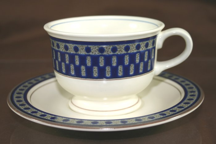 Mikasa AZTEC BLUE Cup and Saucer Set (Footed)