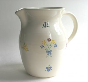 Pfaltzgraff Spectrum 64oz Signed Hand Painted Flowers Water Pitcher