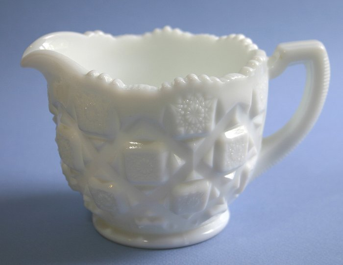 "Westmoreland OLD QUILT (MILK GLASS) Large Creamer  3 1/2""  OQ-31"