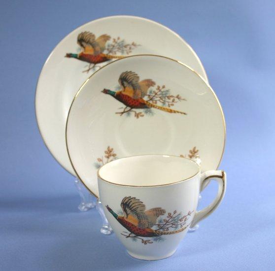 Carrigaline Pottery Ireland GAME BIRD - PHEASANT Cup Saucer Dessert Plate Trio Set