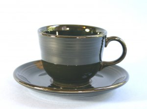 Homer Laughlin Fiesta BLACK Cup and Saucer Set (Flat)