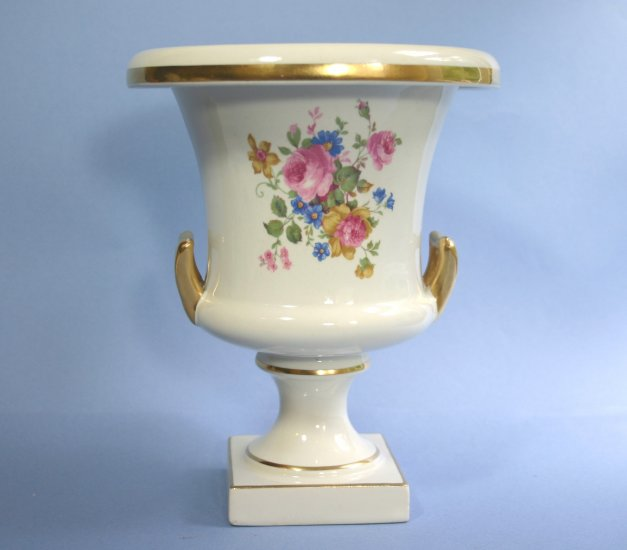 "Trenton Potteries 8.25"" Double Handle Pedestal Floral Urn Vase Trenton Art China TAC"