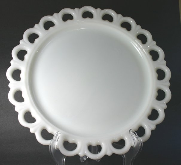 "Anchor Hocking Crystal Lace Edge - Milk Glass 13"" Medium Torte/Cake Plate"