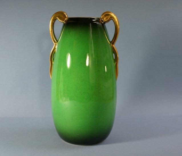 "Vintage Carlton Ware VERT ROYALE 4417 Green Lustre Double Handle 8"" Vase #2"