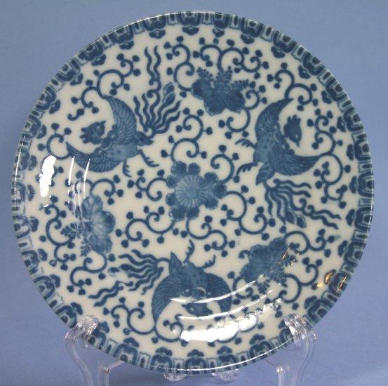 "Japan blue & white Phoenix Bird/Flying Turkey/Howo 7"" Salad/Dessert Plates"