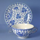 Japan blue & white Phoenix Bird/Flying Turkey/Howo Cup and Saucer Set (Flat)