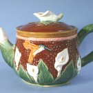 White Lilies & Hummingbirds Majolica style Tea Pot