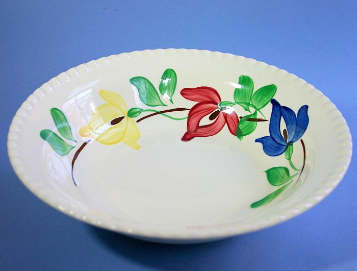 "SPI - Southern Potteries - Blue Ridge Hand Painted #3988 CARNIVAL 9"" Round Vegetable Bowls"