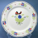 "HB HenRiot Quimper Design 189 Bird with Blue, Red Flowers 10"" Plate"