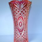 "Bohemian Style 10"" Cranberry Cut Glass to Clear Vase"