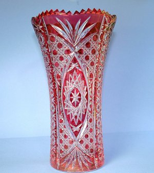 Bohemian Style 10&quot; Cranberry Cut Glass to Clear Vase
