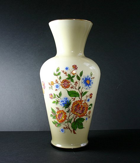 "Vintage Italian Cased Glass Enamel Floral 11"" Vase"