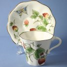 Coalport STRAWBERRY (SCALLOPED) Cup and Saucer Set (Flat)