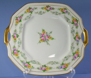 Bernardaud - B & Co Limoges France Hand Painted Cake Plate by Walter Wilson