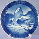 Royal Copenhagen 1966 Christmas Plate Blackbird And Church