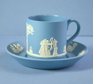 Wedgwood Nike and Warrior Cream On Lavender Demitasse Cup & Saucer