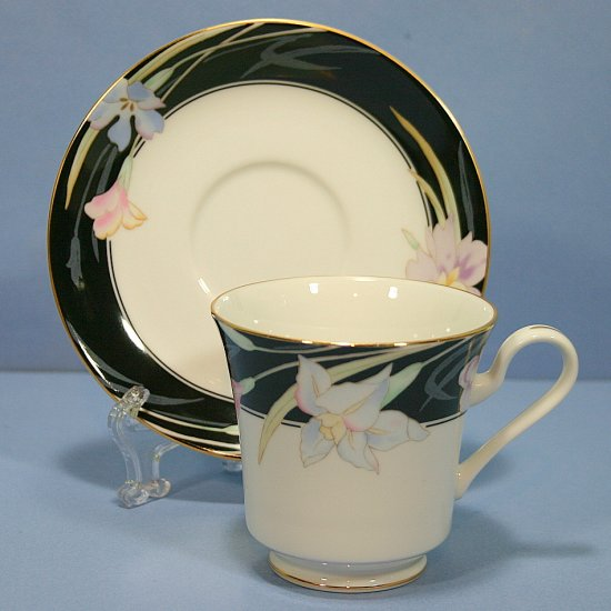 Mikasa Charisma Black Footed Cup & Saucer Set