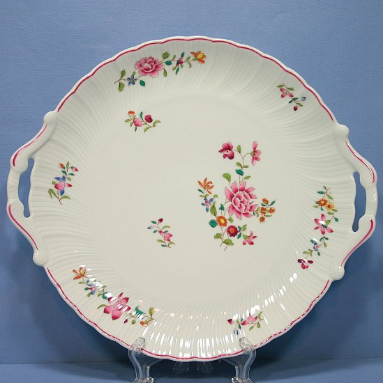 "Bernardaud - B & Co Limoges France 11"" Handled Cake Plate with Red Trim"